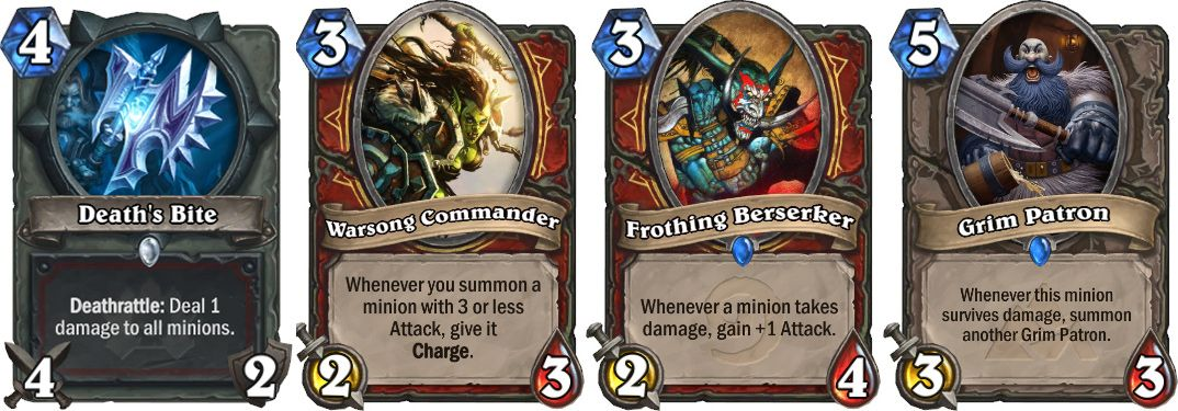 Deaths Bite, Warsong Commander, Grim Patron, Frothing Beserker
