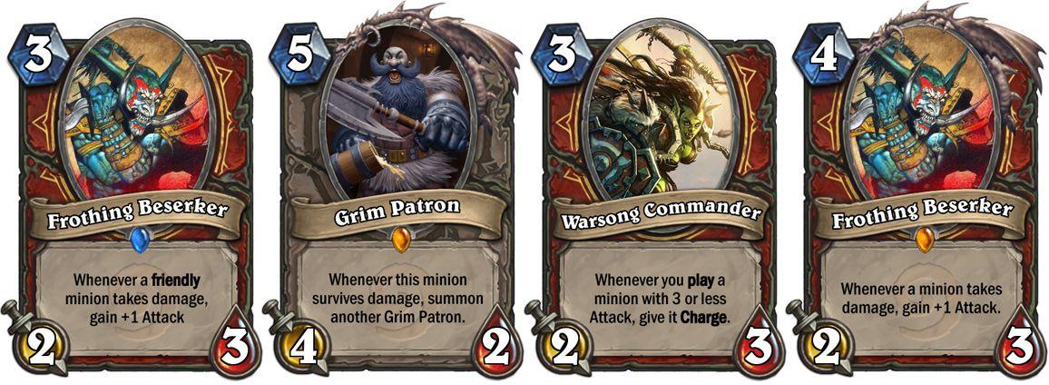 Nerfed Warsong Commander, Grim Patron, Frothing Beserker